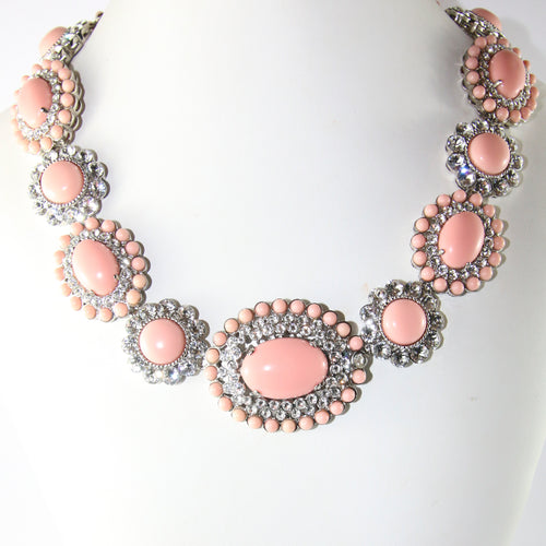 Miu Miu Signed Pastel Pink Statement Necklace With Resin Cabochon Beads & Clear Crystals