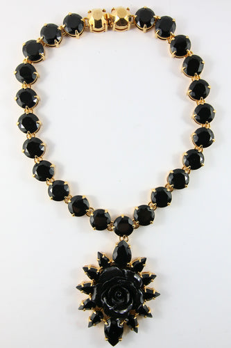 Signed Prada Statement Black Crystal Rose Pendant Necklace - Gold & Black