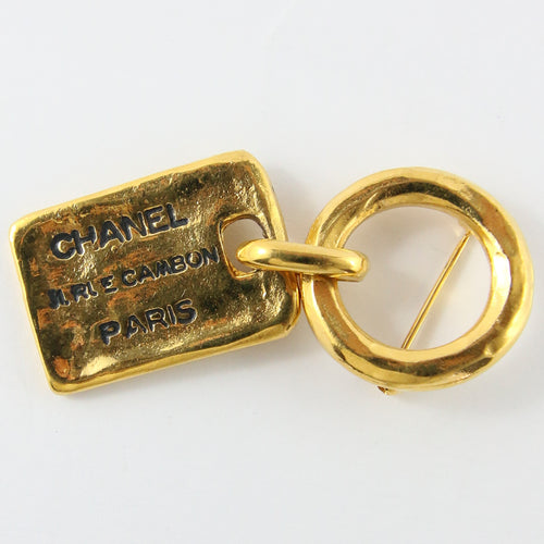 Vintage Chanel Gold Plated Tag Brooch