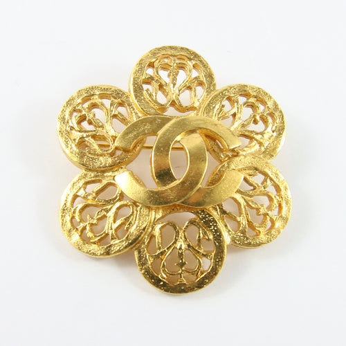 Signed Vintage Chanel Gold Plated Floral Tag Brooch