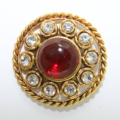 Signed Vintage Chanel Red Gripoix Gold Plated Tag Brooch With Crystals