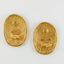 Load image into Gallery viewer, Vintage Signed Chanel CC Gold Oval Earrings With Crown Design c. 1980s (Clip-on)