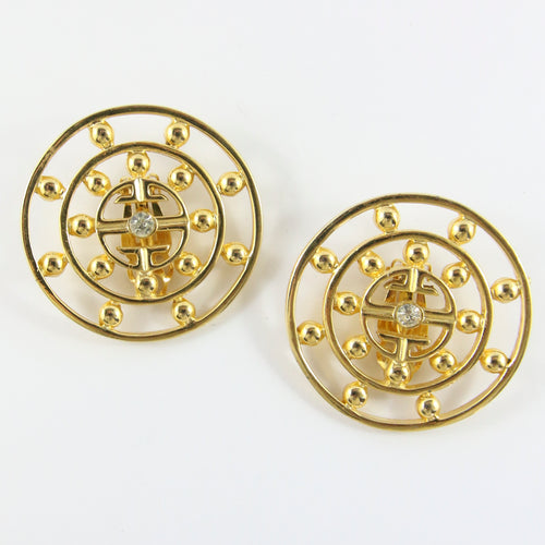 Vintage Signed 'Givenchy' Gold Tone Large Round Earrings With Small Crystal in Centre (Clip-On) c.1980s