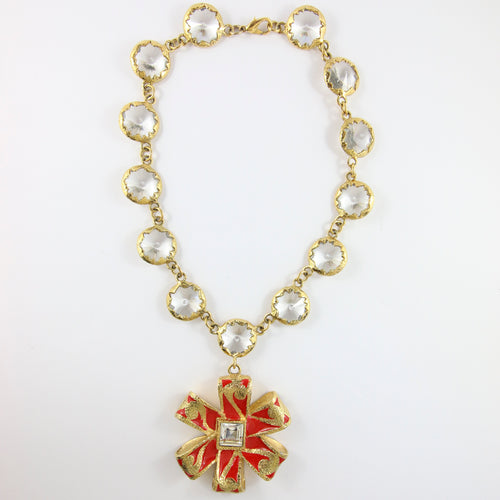 Vintage Signed 'Christian Lacroix' Gold Plated Red Enamel Necklace & Glass Stones