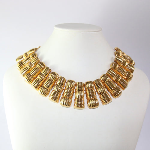 Signed Vintage Fendi Gold Plated Chain Link Necklace