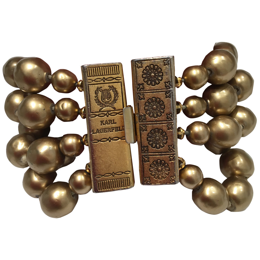 Signed 'Karl Lagerfeld' Vintage Gold Tone Large Multi Beaded Bracelet