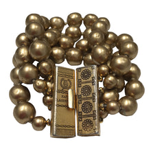 Load image into Gallery viewer, Signed 'Karl Lagerfeld' Vintage Gold Tone Large Multi Beaded Bracelet