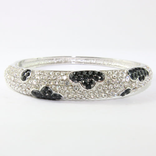 Black & Clear Crystal Encrusted Silver Bangle with Clasp