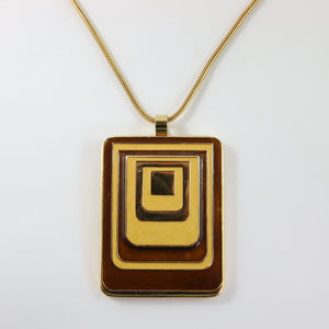 Lanvin Vintage Brown & Caramel Enamel Disco Pendant Long Necklace