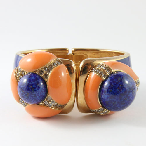 Ciner NY Chunky Gold Plated, Royal Blue Enamel, Royal Blue & Coral Cabochon & Clear Crystal Cuff