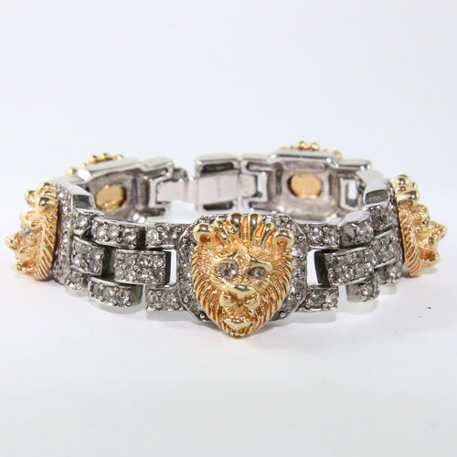 Ciner NY Silver & Gold Lion Crystal Encrusted Bracelet with Clasp
