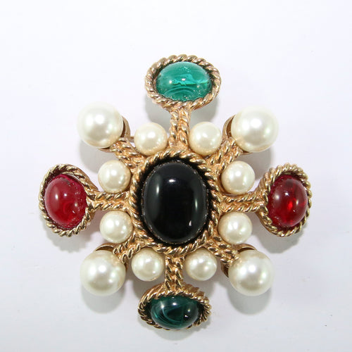 Ciner NY Pearl, Black, Green & Red Star Brooch