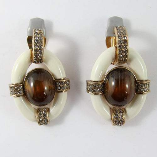 Ciner NY Ivory Enamel, Torq Cabochon & Clear Crystal Earrings (Clip-On)