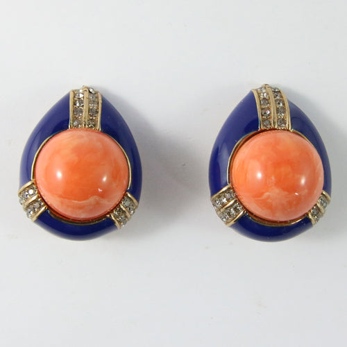 Ciner NY Orange and Blue Encrusted Tear Drop Earrings (Clip-On)