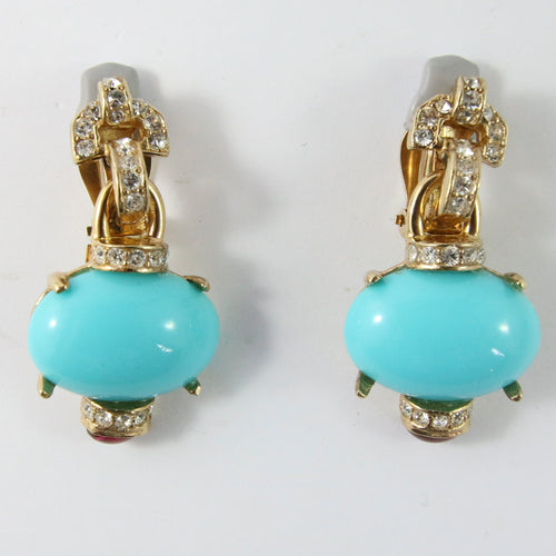 Ciner NY Turquoise & Ruby Cabochon Clear Crystal Earrings (Clip-On)