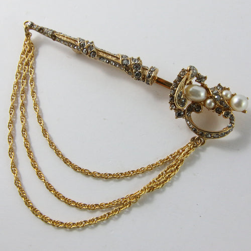 Ciner NY Gold Plated Multi Chain Sword Pin Brooch