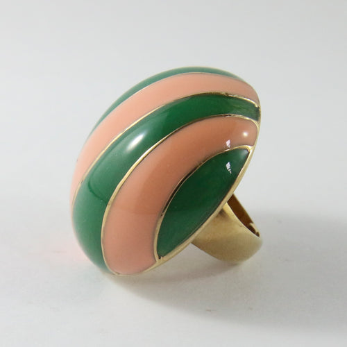 Ciner NY Gold Plated Peach & Green Enamel Striped Round Ring