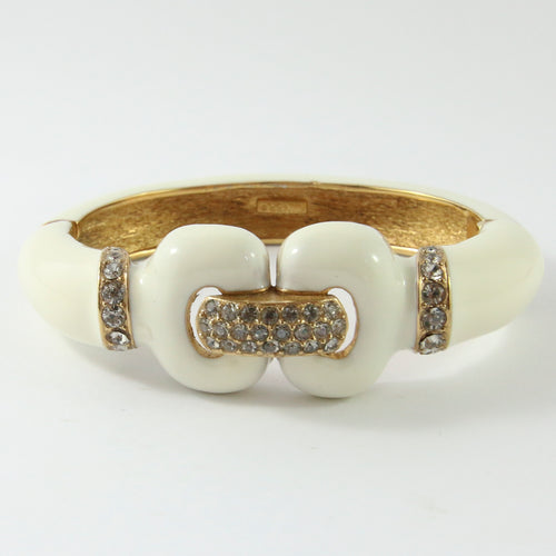 Ciner NY Creme Enamel, Clear Crystal & Gold Plated Cuff Bangle