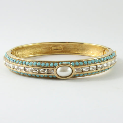 Ciner NY Turquoise , White Pearl , Gold & Crystal Bangle with Clasp