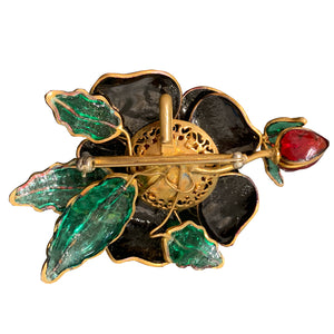 Vintage Unsigned Pate-de-verre (Hand Poured Glass) Black Rose On Branch Brooch