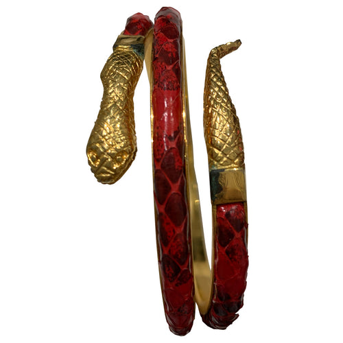 Vintage Red Textured Snake Armband c.1970s