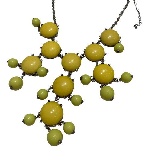 Vintage Unsigned Bright Yellow Ball Ball Necklace