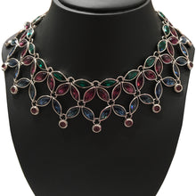 Load image into Gallery viewer, Limited Edition 098-500 Yves Saint Laurent Vintage Silver Tone, Emerald, Amethyst & Indigo Floral Neckpiece