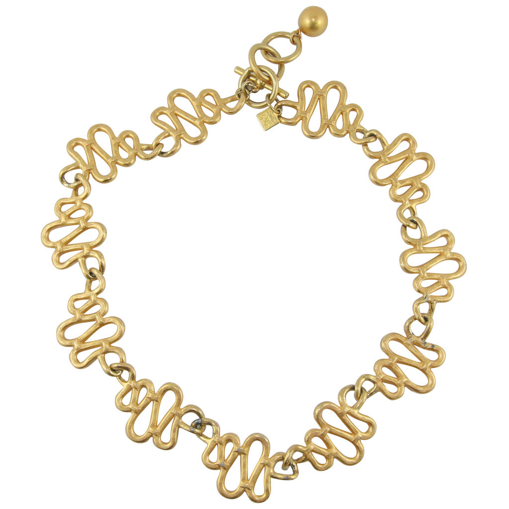 Anne Klein Vintage Gold Tone Swirl Necklace c.1980