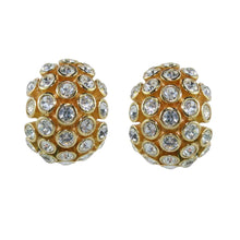 Load image into Gallery viewer, Christian Dior Signed Vintage Gold Tone Clear Crystal Earrings c.1970 (Clip-on)