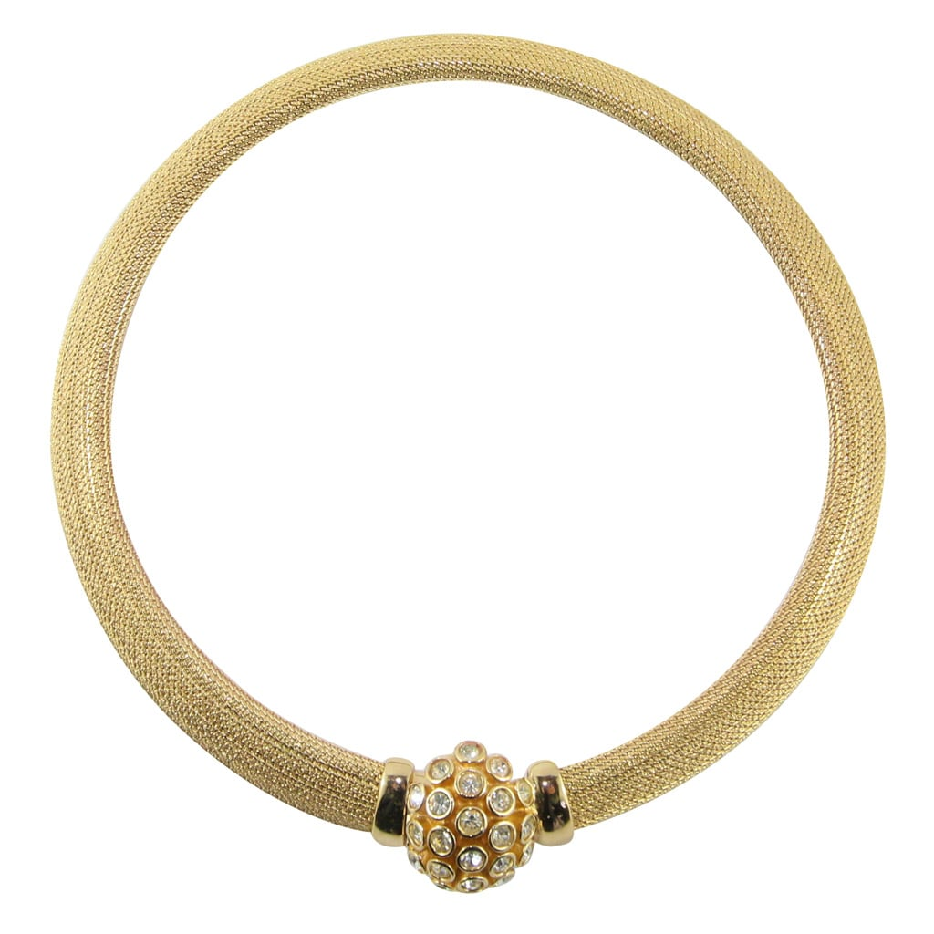 Christian Dior Signed Vintage Gold Tone Crystal Detail Choker Necklace c. 1970