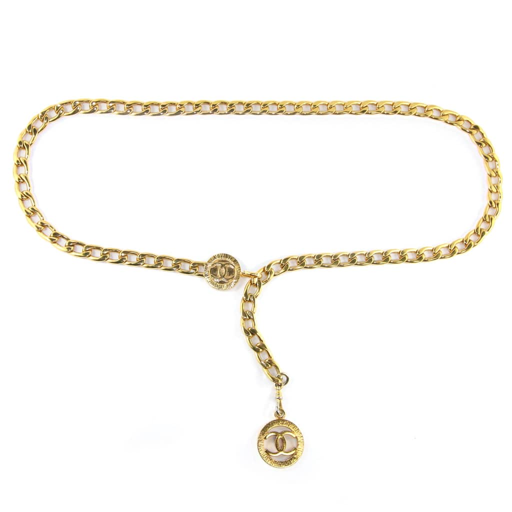 Vintage Chanel Gold Tone Chain Belt with CC Pendant c. 1990