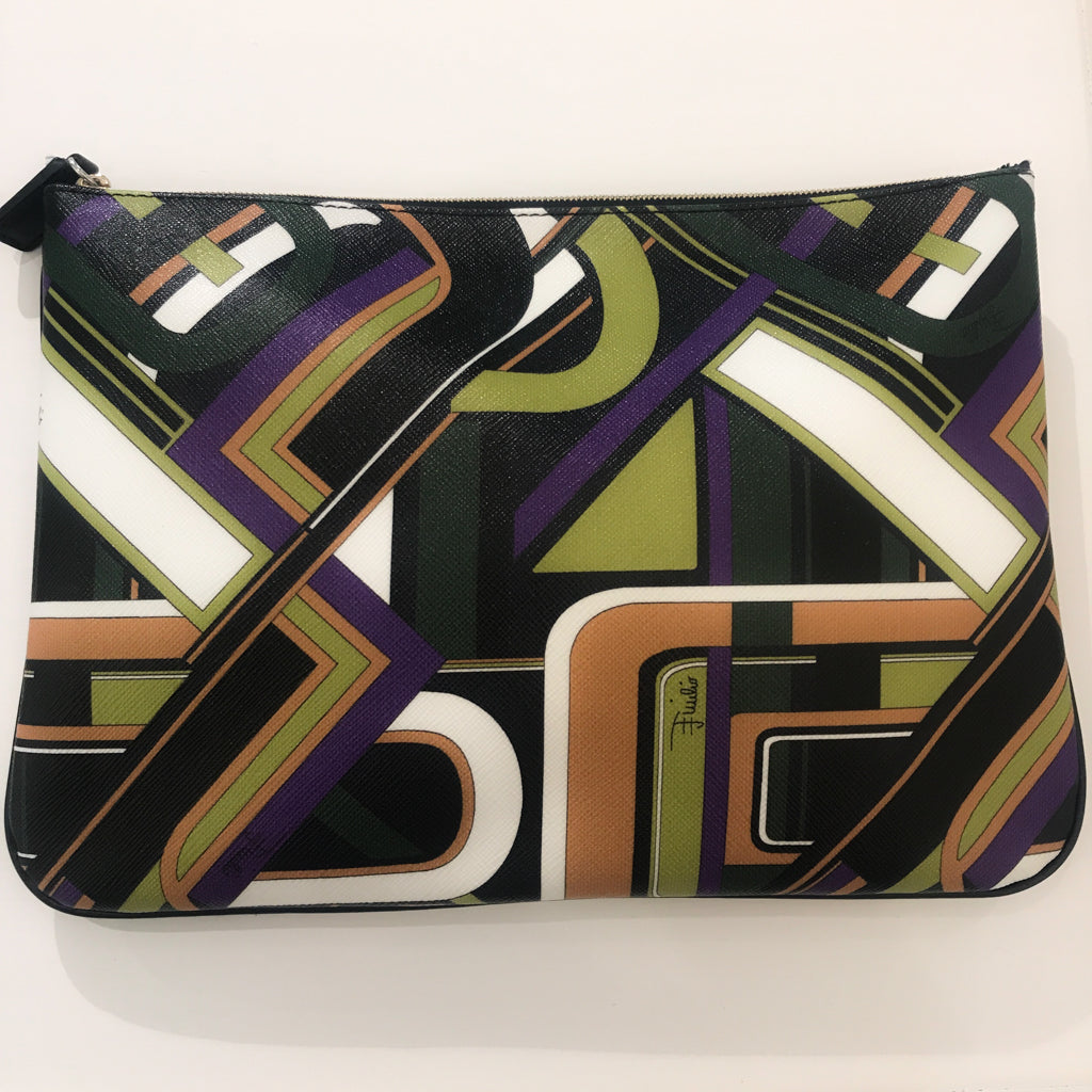 Preowned Pucci Leather Clutch Purse - Greens, Mustard Yellow, Black, Purple, White Multi