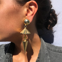 Load image into Gallery viewer, Vintage Gold Tone Drop Pyramid & Cone Earrings c. 1970's-( Clip-on Earrings)