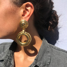 Load image into Gallery viewer, Large Vintage Gold Tone Swirl Double Hoop Earrings c.1970s (Pierced)