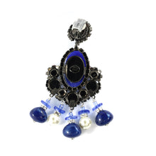 Load image into Gallery viewer, Signed Lawrence VRBA Statement Cobalt Blue Large Glass Bead Earrings