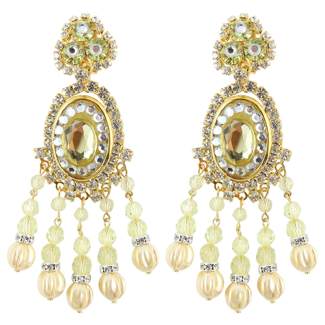 Lawrence VRBA Signed Large Statement Crystal Earrings - Faux Pearl