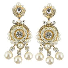 Load image into Gallery viewer, Lawrence VRBA Signed Large Statement Crystal Earrings - Clear Crystal, Faux Pearls with Bow
