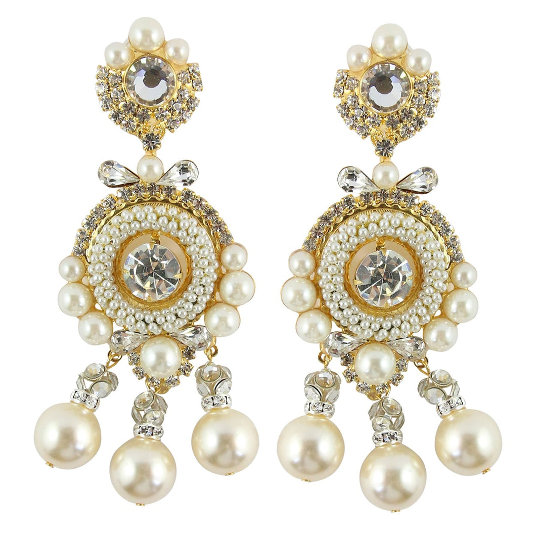 Lawrence VRBA Signed Large Statement Crystal Earrings - Clear Crystal, Faux Pearls with Bow