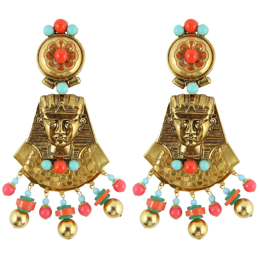 Lawrence VRBA Signed Large Statement Crystal Egyptian Revival Earrings - Gold Plate, Faux Coral & Turquoise