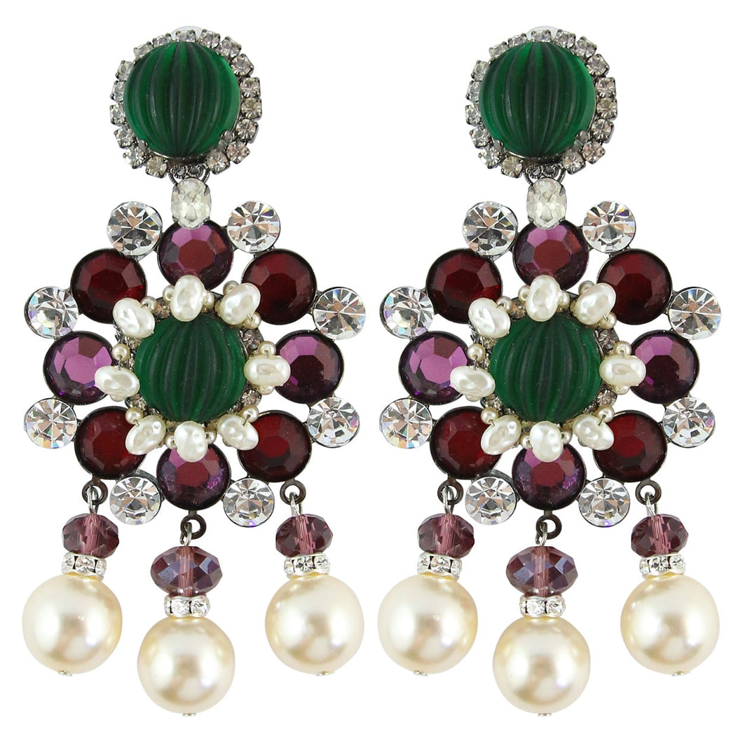 Lawrence VRBA Signed Large Statement Crystal Earrings - Green, Purple, Faux Pearl