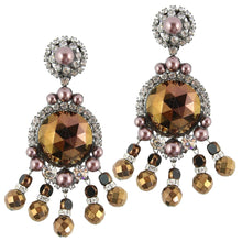 Load image into Gallery viewer, Lawrence VRBA Signed Large Statement Crystal Earrings - Metallic