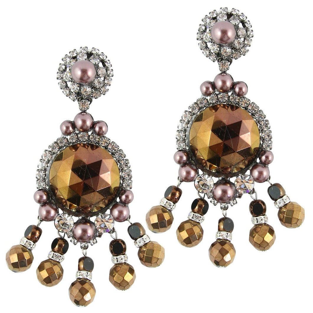 Lawrence VRBA Signed Large Statement Crystal Earrings - Metallic