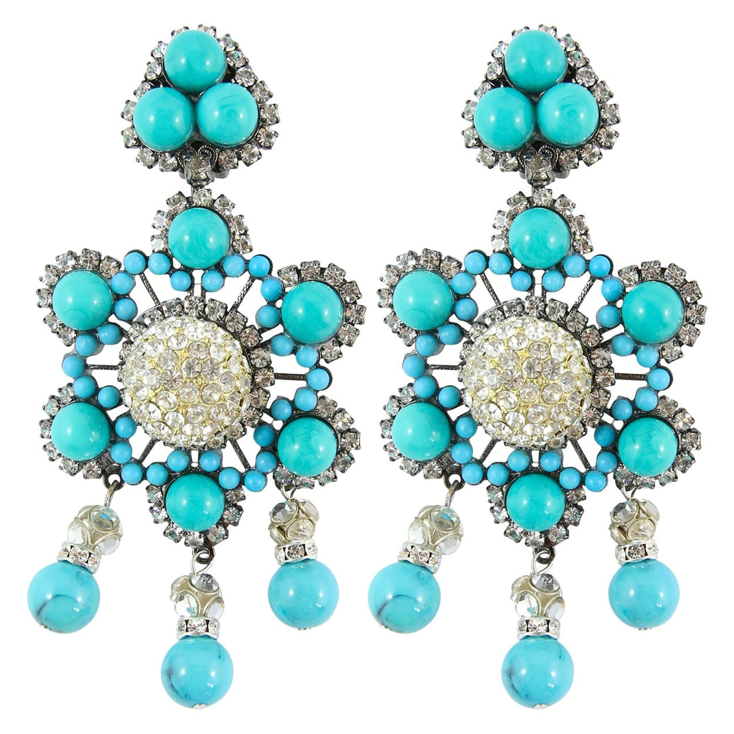 Lawrence VRBA Signed Large Statement Crystal Earrings - Faux Turquoise Blue