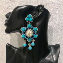 Load image into Gallery viewer, Lawrence VRBA Signed Large Statement Crystal Earrings - Faux Turquoise Blue