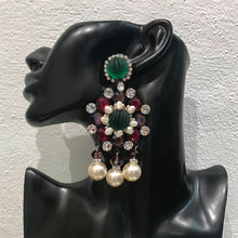Load image into Gallery viewer, Lawrence VRBA Signed Large Statement Crystal Earrings - Green, Purple, Faux Pearl