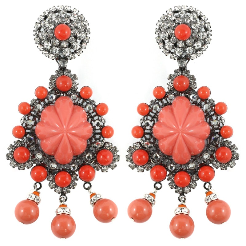 Signed Lawrence VRBA Statement Coral Glass Bead Earrings