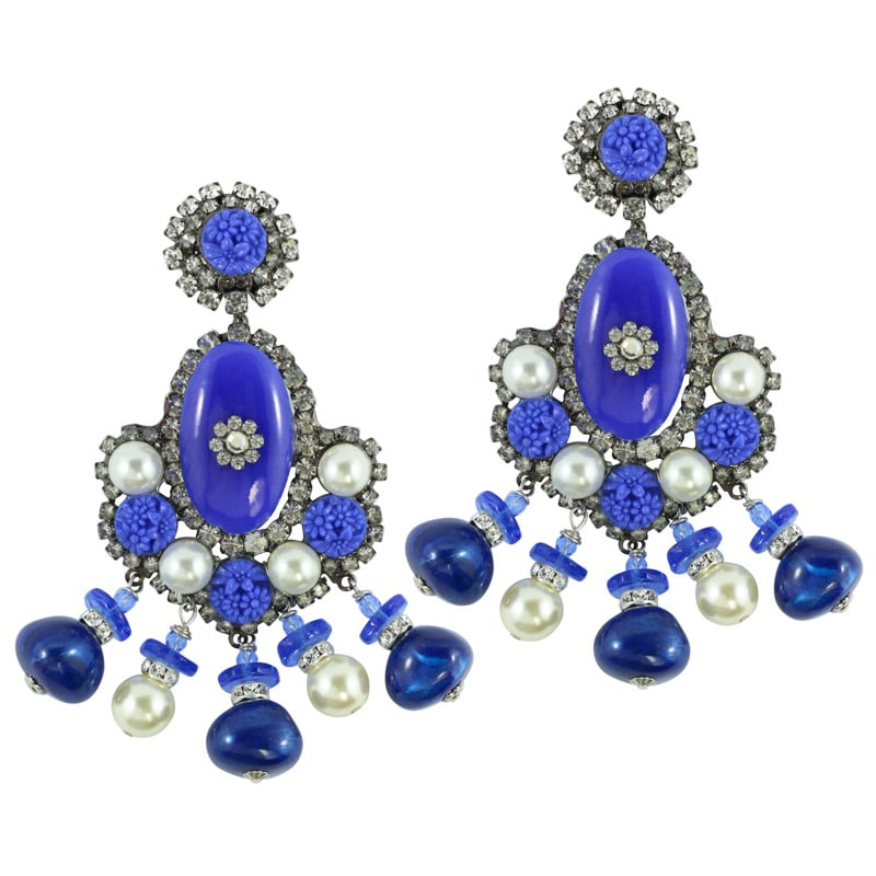 Signed Lawrence VRBA Statement Cobalt Blue Large Glass Bead Earrings