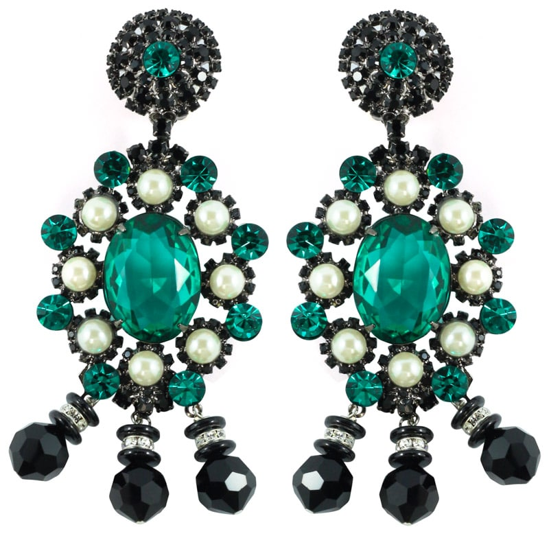 Signed Lawrence VRBA Statement Earrings - Emerald Green, Faux Pearl