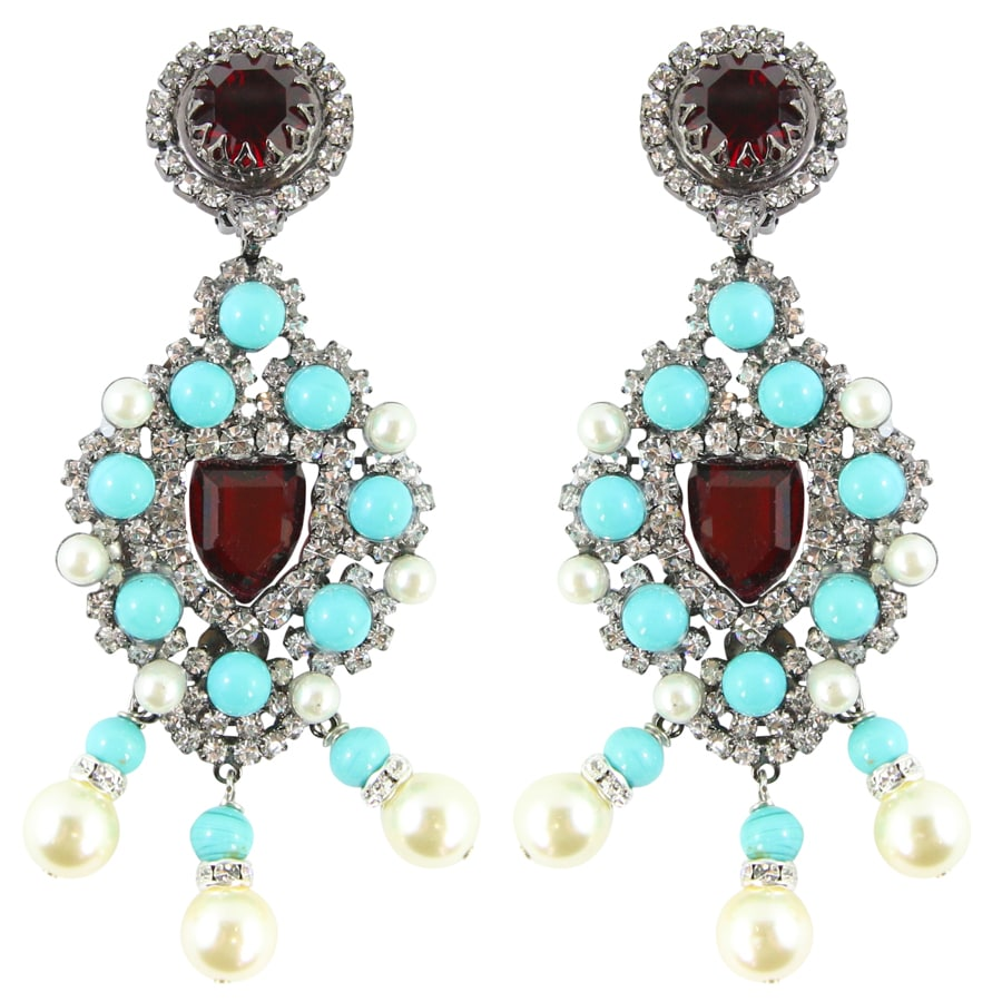 Lawrence VRBA Signed Large Statement Crystal Earrings - Turquoise, Ruby Red, Faux Pearl clip-on)