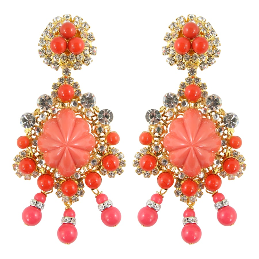 Lawrence VRBA Signed Large Statement Crystal Earrings - Coral & Gold (clip-on)